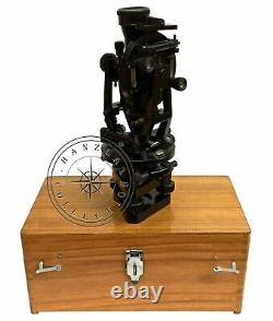 15 Antique Brass Theodolite With Wood Box Transit Alidade Surveying Instruments