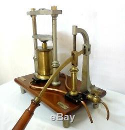 16´´ Antique 1900 Paris France Ducretet Hydraulic Press & Pump Model Demo Rare