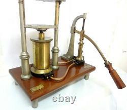16´´ Antique Rare Paris France Ducretet Hydraulic Press Pump Model Demonstration