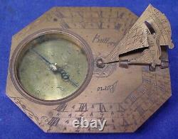 17th 18th Century Butterfield Sundial + Leather Cover Case