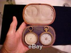 1800s English CASED 2 Pc. Pocket Watch Set Maritime Nautical BAROMETER, COMPASS