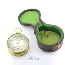 1900s Antique E. B. Meyrowitz Pocket Barometer Compass Thermometer Original Case