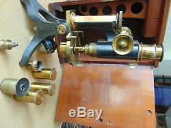 19th CENTURY BRASS TILTING MICROSCOPE BAKER WATSON SWIFT