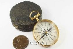 ANTIQUE GEORGIAN ENGLISH POCKET COMPASS & ORIGINAL SHAGREEN BOX / CASE c1820