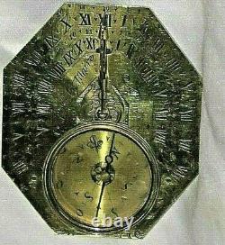 ANTIQUE Le` MEIER FRENCH BRASS SUNDIAL, Circa 1720