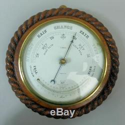 ANTIQUE OAK ROPE TWIST ANEROID BAROMETER & THERMOMETER C. 1900 Good Working Order