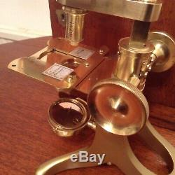 A good antique microscope and case Armstrong Brothers 88 Deansgate Manchester
