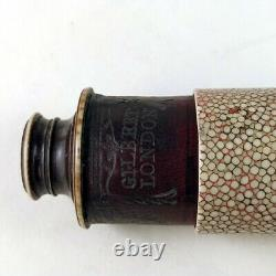 A pink-shagreen monocular with toolings by Gilbert, London