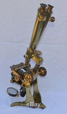 A very large binocular microscope in case Charles Collins