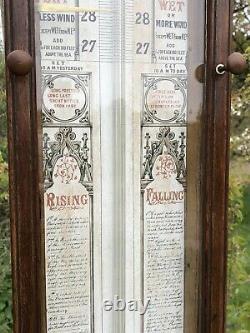 Admiral fitzroy barometer Victorian Ornate Oak Cased Antique Late 1800s