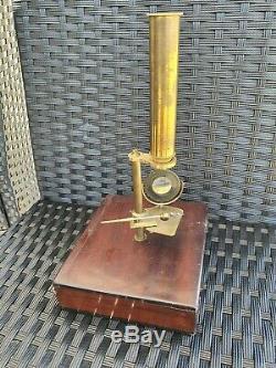 Ancien Microscope De Voyage Entomologie Insectes Coffret Bois Antique