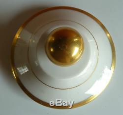 Ancien pot à pharmacie porcelaine TBE blanc et doré avec caducée french antique