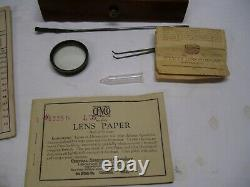 Antique 1897 Brass Bausch & Lomb Microscope Objectives & Extras Wood Case 26689