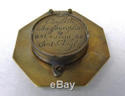 Antique 18th Century Brass Equinoctial Pocket Sundial Compass Andreas Vogler