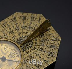 Antique 18th Century French Nicholas Bion Brass Pocket Compass Sundial