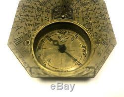 Antique 18th Century French Nicolas Bion Brass Pocket Compass Sundial