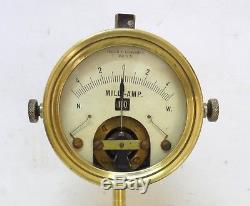 Antique 1900 S´ Loewenstein German Berlin Brass Ammeter Galvanometer Adjustable