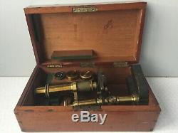 Antique Baker Of High Holborn Black Lacquer and Brass Microscope