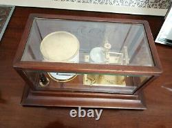 Antique Barograph in mahogany & glass case. AE Coe Norwich. Working