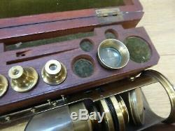 Antique Boxed Victorian Brass Monocular Compound Field Microscope & Accessories