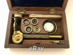 Antique Brass Botanical Field Microscope Lenses Accessories Case Mounted Box