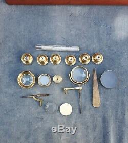 Antique Brass Drum Microscope Signed & Full Set Of Accessories Circa 1840-50