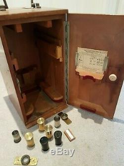 Antique Brass Ernst Leitz Wetzlar Microscope 1921 Model Oak Carrying Case