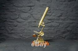 Antique Brass Field Microscope in Wooden Case with Slides Scientific Science