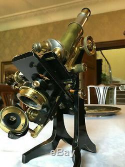 Antique Brass James Swift Research Microscope circa 1915 Cased, Watson Lens