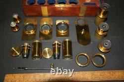 Antique Brass Microscope Accessory set with Brass Live Box, Swift & Sons Lenses