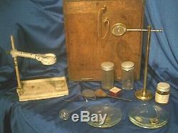 Antique Brass Microscope Franks Manchester & Accessories