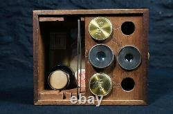 Antique Brass Microscope with a Bullseye Lens on Stand in a Mahogany Case