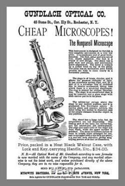 Antique Brass Nonpareil Microscope Signed Ernst Gundlach + Yawman & Erbe C1880