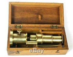 Antique Brass Portable Field Microscope in Wooden Case 6382