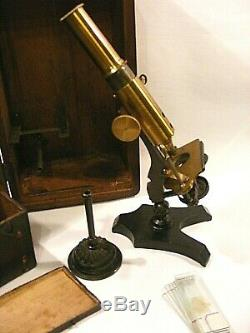 Antique Brass Traveling Microscope And Case