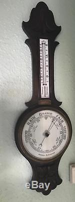 Antique British Carved Oak Aneroid Banjo Barometer & Thermometer