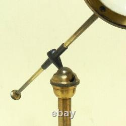 Antique C19th Brass Microscope Light Condenser Bullseye in Fitted Mahogany Box