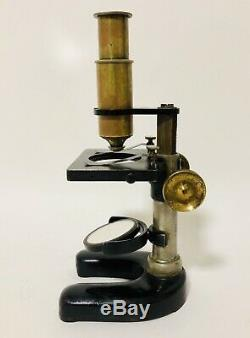 Antique C. Baker High Holborn London Brass Dissecting Microscope with Lenses