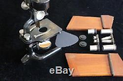 Antique Carl Zeiss Binocular Microscope, Greenough Type. C1895. Cased