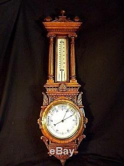 Antique Carved Aneroid Barometer C1890/1900
