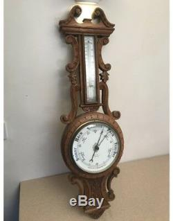 Antique Carved Oak Aneroid Barometer By Benetfink + Co, Cheapside, London