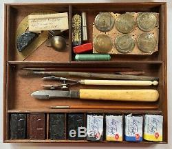 Antique Drawing Instruments in Walnut Box