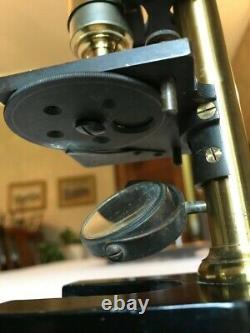 Antique E. Leitz Wetzlar Compact Brass Microscope with Wheel-of-Stops, c1885