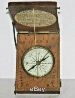 Antique English Fruitwood Diptych Dial, Sundial, Compass, Circa 1800s