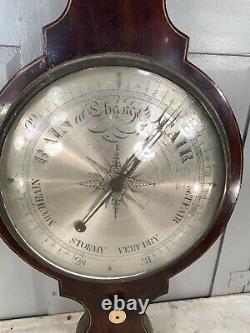 Antique English Georgian early Victorian Banjo wall barometer