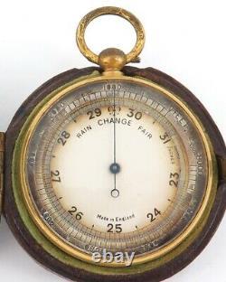 Antique English Made Pocket Barometer + Original Storage Case