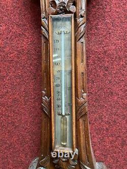 Antique English Victorian Carved Walnut Banjo Barometer