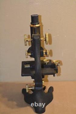Antique Ernst Leitz Wetzlar Cast Iron Brass Microscope with Lens Case Extras