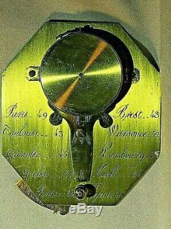 Antique French Octagonal Brass Cased Pocket Sundial, circa 18th Century