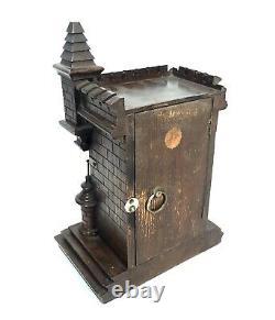 Antique German Wooden Black Forest Cased Junghans Aneroid Barometer / c1890